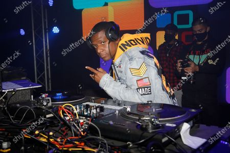 Stock Picture of DJ Nasty on the turntables during the Pre-Super Bowl Red Carpet Event & Concert at the Ritz Ybor in Tampa, Florida on Friday, February 6, 2021.