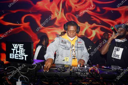 DJ Nasty on the turntables during the Pre-Super Bowl Red Carpet Event & Concert at the Ritz Ybor in Tampa, Florida on Friday, February 6, 2021.
