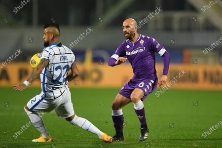 """Arturo Vidal (Inter)Borja Valero (Fiorentina)           during the Italian """"Serie A"""" match between Fiorentina 0-2 Inter  at  Artemio Franchi Stadium in Florence, Italy."""