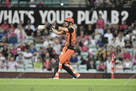 Cameron Bancroft of the Perth Scorchers mistimes his shot; Sydney Cricket Ground, Sydney, New South Wales, Australia; Big Bash League Cricket, Final, Sydney Sixers versus Perth Scorchers.