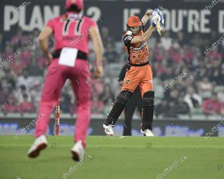 Stock Image of Cameron Bancroft of the Perth Scorchers plays a shot towards Sean Abbott of the Sydney Sixers; Sydney Cricket Ground, Sydney, New South Wales, Australia; Big Bash League Cricket, Final, Sydney Sixers versus Perth Scorchers.