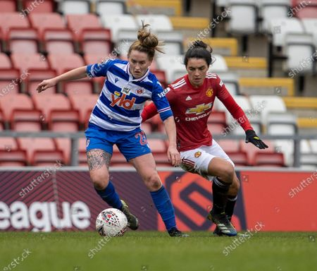 Stock Picture of Rachel Rowe of Reading under pressure from Jessica Sigsworth of Manchester United Women; Leigh Sports Village, Lancashire, England; Women's English Super League, Manchester United Women versus Reading Women.