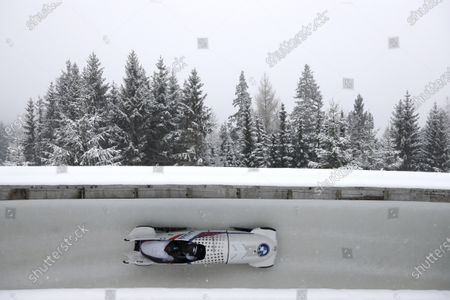 Kaillie Humphries and Lolo Jones of the United States speed down the track during the two women's bobsleigh race at the Bobsleigh and Skeleton World Championships in Altenberg, Germany