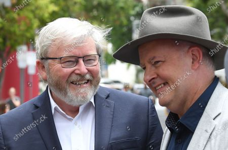 Stock Image of Former Australian prime minister Kevin Rudd (L) and Australian Opposition Leader Anthony Albanese (R) touring the Southbank Collective Markets with former Australian prime minister Rudd in Brisbane, Queensland, Australia, 06 February 2021. Albanese is spending the week touring Queensland electorates.