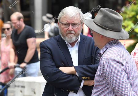 Former Australian prime minister Kevin Rudd (L) tours the Southbank Collective Markets in Brisbane, Queensland, Australia, 06 February 2021. Albanese is spending the week touring Queensland electorates.