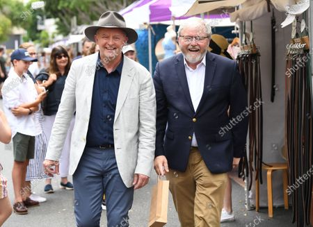 Former Australian prime minister Kevin Rudd (R) and Australian Opposition Leader Anthony Albanese (L) touring the Southbank Collective Markets with former Australian prime minister Rudd in Brisbane, Queensland, Australia, 06 February 2021. Albanese is spending the week touring Queensland electorates.