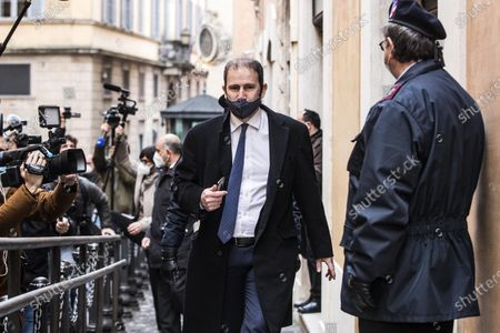 Stock Picture of Davide Casaleggio (C), founding member of the Five Star Movement (M5S), arrives at Montecitorio palace, the seat of the Italian Chamber of Deputies (Lower House), before a meeting with Italian designated prime minister Mario Draghi for the formation of a new government, in Rome, Italy, 06 February 2021. Designated prime minister Draghi is holding consultations with Italian parties for the formation of a new government after the previous coalition collapsed.