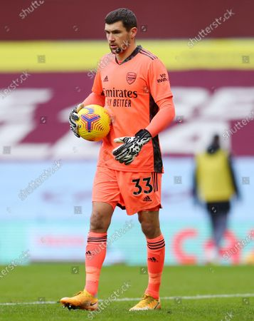 Arsenal's goalkeeper Mathew Ryan walks during the English Premier League soccer match between Aston Villa and Arsenal at Villa Park in Birmingham, England