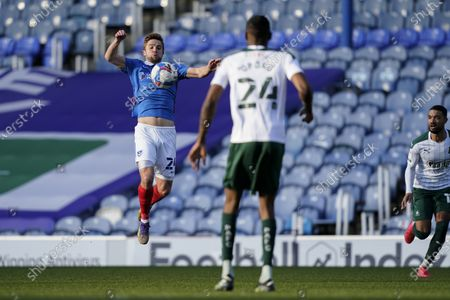 Michael Jacobs of Portsmouth chests the ball during the EFL Sky Bet League 1 match between Portsmouth and Plymouth Argyle at Fratton Park, Portsmouth