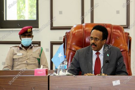 Somalia president Mohamed Abdullahi Farmaajo speaks in parliament in Mogadishu, Somalia, 06 February 2021. An impasse continues between Somalia's divided political leaders on how to proceed with elections. Days of negotiations between the central government and federal states have not resulted in a solution when the president's mandate expires 08 February sparking fears of instability.