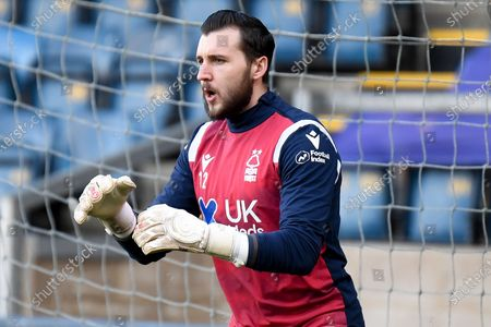 of Nottingham Forest goalkeeper Jordan Smith (12) during the EFL Sky Bet Championship match between Wycombe Wanderers and Nottingham Forest at Adams Park, High Wycombe