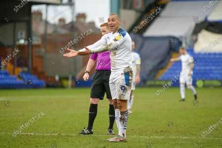 Tranmere Rovers striker James Vaughan (9) gestures during the EFL Sky Bet League 2 match between Tranmere Rovers and Port Vale at Prenton Park, Birkenhead