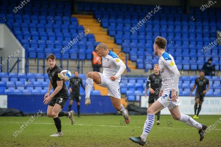 Tranmere Rovers striker James Vaughan (9) reaches for the ball during the EFL Sky Bet League 2 match between Tranmere Rovers and Port Vale at Prenton Park, Birkenhead