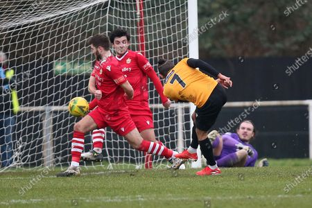 Stock Photo of George Porter of Maidstone scores the second goal for his team and celebrates during Hornchurch vs Maidstone United, Buildbase FA Trophy Football at Hornchurch Stadium on 6th February 2021