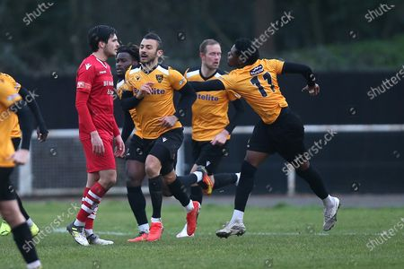 Stock Image of George Porter of Maidstone scores the third goal for his team and celebrates during Hornchurch vs Maidstone United, Buildbase FA Trophy Football at Hornchurch Stadium on 6th February 2021