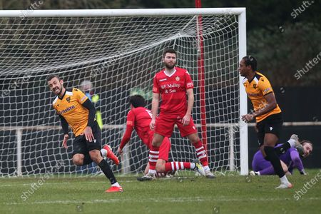 Stock Picture of George Porter of Maidstone scores the second goal for his team and celebrates during Hornchurch vs Maidstone United, Buildbase FA Trophy Football at Hornchurch Stadium on 6th February 2021