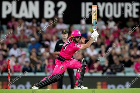 Stock Image of Sydney Sixers player Dan Christian plays a shot during the Big Bash League final cricket match between Sydney Sixers and Perth Scorchers.