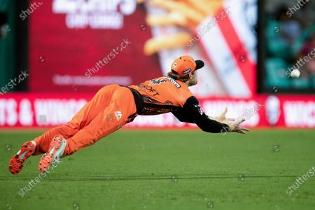 Perth Scorchers player Cameron Bancroft drops a catch during the Big Bash League final cricket match between Sydney Sixers and Perth Scorchers.