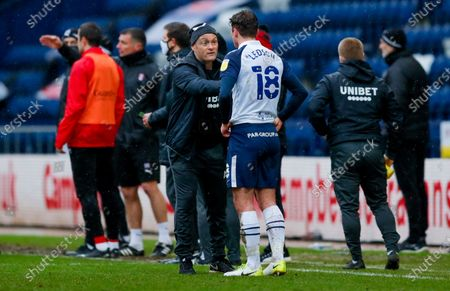 Preston North End Manager Alex Neil with Preston North End midfielder Ryan Ledson (18)  during the EFL Sky Bet Championship match between Preston North End and Rotherham United at Deepdale, Preston