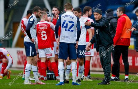 Preston North End Manager Alex Neil with Preston North End midfielder Anthony Gordon (42)  during the EFL Sky Bet Championship match between Preston North End and Rotherham United at Deepdale, Preston