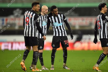 From left, Newcastle's Joelinton, Jonjo Shelvey and Joe Willock celebrate their side's 3-2 win after the English Premier League soccer match between Newcastle and Southampton, at St. James' Park Stadium in Newcastle, England