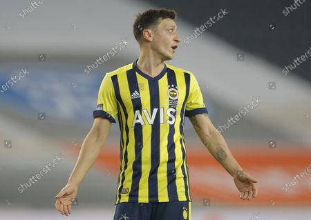 Mesut Oezil of Fenerbahce reacts during the Turkish Super League soccer match between Fenerbahce and Galatasaray in Istanbul, Turkey, 06 February 2021.
