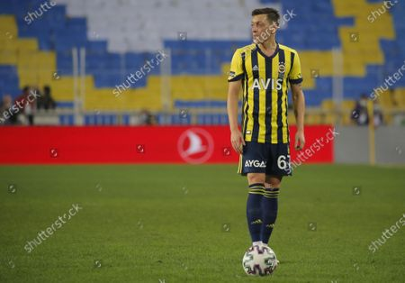 Stock Photo of Mesut Oezil of Fenerbahce waits before a free kick during the Turkish Super League soccer match between Fenerbahce and Galatasaray in Istanbul, Turkey, 06 February 2021.