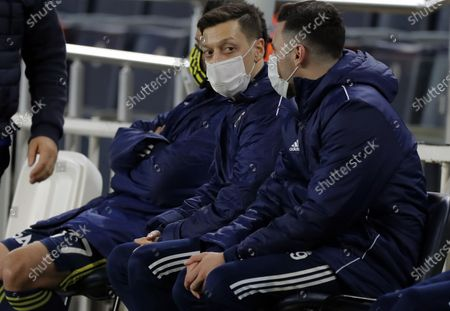 Mesut Oezil (C) of Fenerbahce wearing a face mask before the Turkish Super League soccer match between Fenerbahce and Galatasaray in Istanbul, Turkey, 06 February 2021.
