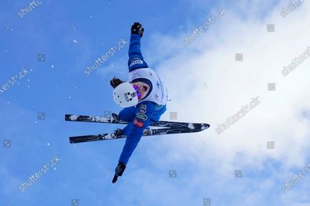 Ashley Caldwell practices before competing in the World Cup women's freestyle aerials skiing event, in Deer Valley, Utah