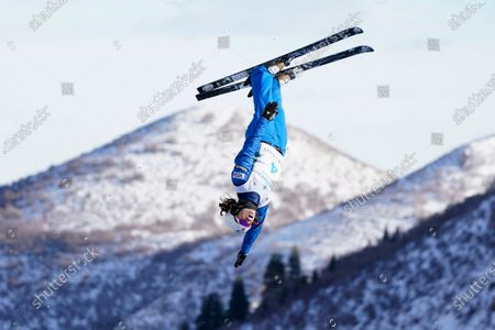 Ashley Caldwell competes during qualifying in the World Cup women's freestyle aerials skiing event, in Deer Valley, Utah