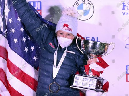 Kaillie Humphries of the United States celebrate after winning with Lolo Jones the two women's bobsleigh race at the Bobsleigh and Skeleton World Championships in Altenberg, Germany