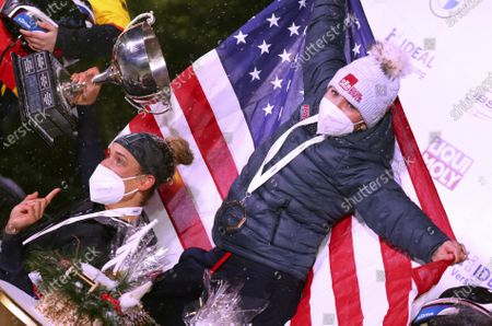 Kaillie Humphries and Lolo Jones of the United States celebrate after winning the two women's bobsleigh race at the Bobsleigh and Skeleton World Championships in Altenberg, Germany