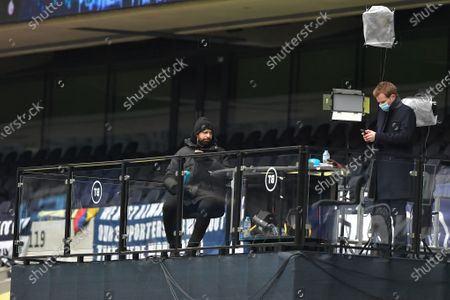 Stock Image of BT Sport Presenter Rio Ferdinand is seen on a cold lunchtime kick-off - Tottenham Hotspur v West Bromwich Albion, Premier League, Tottenham Hotspur Stadium, London, UK - 7th February 2021Editorial Use Only - DataCo restrictions apply