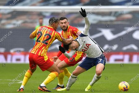 Son Heung-Min of Tottenham Hotspur in action with Lee Peltier and Robert Snodgrass of West Bromwich Albion - Tottenham Hotspur v West Bromwich Albion, Premier League, Tottenham Hotspur Stadium, London, UK - 7th February 2021Editorial Use Only - DataCo restrictions apply