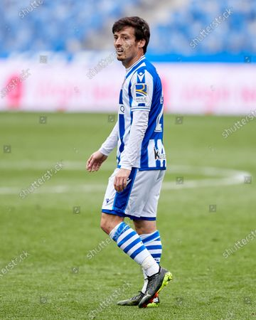 David Silva of Real Sociedad CF looks on during the La Liga match between Real Sociedad and Cadiz CF at Reale Arena on February 07, 2021 in San Sebastian, Spain.