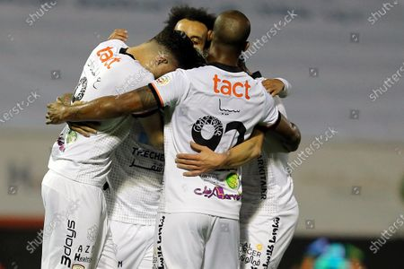 Al-Shabab's player Ever Banega (3-L) celebrates with teammates after scoring a goal during the Saudi Professional League soccer match between Al-Shabab and Al-Raed at Al-Shabab Club Stadium, Riyadh, Saudi Arabia, 06 February 2021.