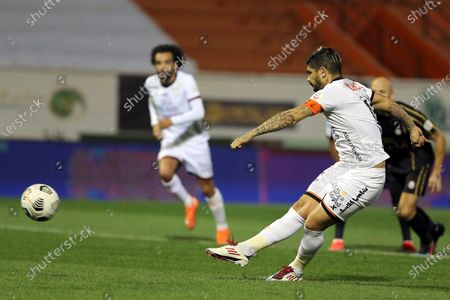 Al-Shabab's player Ever Banega scores a goal during the Saudi Professional League soccer match between Al-Shabab and Al-Raed at Al-Shabab Club Stadium, Riyadh, Saudi Arabia, 06 February 2021.