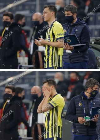 In this combo image, Fenerbahce's Mesut Ozil, of Germany, prays before entering the pitch as a substitute player during a Turkish Super League soccer match between Fenerbahce and Galatasaray in Istanbul, . Ozil, who is of Turkish descent and was formerly with Arsenal came in as a substitute on his first match with Fenerbahce. Galatasaray won the match 1-0