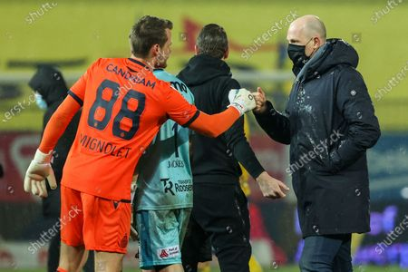 Club's goalkeeper Simon Mignolet and Club Brugge's head coach Philippe Clement celebrates after winning a soccer match between Waasland-Beveren and Club Brugge, Saturday 06 February 2021 in Beveren, on day 24 of the 'Jupiler Pro League' first division of the Belgian championship.