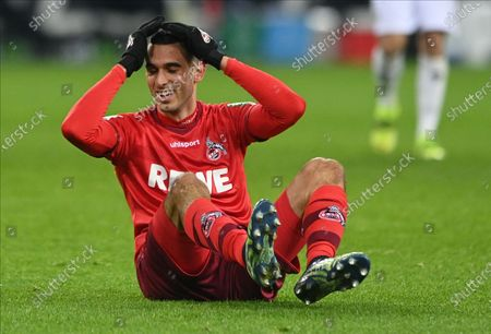 Cologne's Ellyes Skhiri reacts during the German Bundesliga soccer match between Borussia Moenchengladbach and 1. FC Koeln at Borussia-Park in Moenchengladbach, Germany, 06 February 2021.