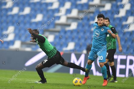 "Pedro Obiang (Sassuolo)Kevin Agudelo (Spezia)           during the Italian ""Serie A"" match between Sassuolo 1-2 Spezia  at  Mapei Stadium in Reggio Emilia, Italy."