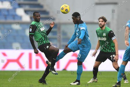 "Pedro Obiang (Sassuolo)Emmanuel Gyasi (Spezia)Manuel Locatelli (Sassuolo)           during the Italian ""Serie A"" match between Sassuolo 1-2 Spezia  at  Mapei Stadium in Reggio Emilia, Italy."