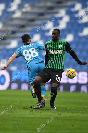 "Stock Photo of Leo Sena (Spezia)Pedro Obiang (Sassuolo)           during the Italian ""Serie A"" match between Sassuolo 1-2 Spezia  at  Mapei Stadium in Reggio Emilia, Italy."