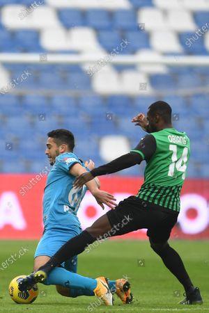 "Stock Image of Leo Sena (Spezia)Pedro Obiang (Sassuolo)           during the Italian ""Serie A"" match between Sassuolo 1-2 Spezia  at  Mapei Stadium in Reggio Emilia, Italy."