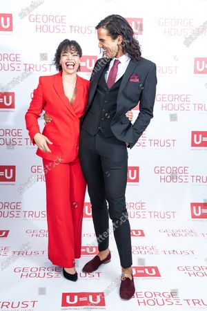 Lydia West and NATHANIEL CURTIS. The cast of Russell T Davies ' TV drama It's a Sin attend a George House Trust fundraising gala at the Lowry Hotel in Salford.