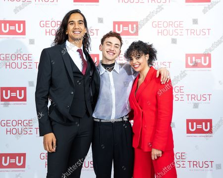 NATHANIEL CURTIS, Olly Alexander and Lydia West. The cast of Russell T Davies ' TV drama It's a Sin attend a George House Trust fundraising gala at the Lowry Hotel in Salford.