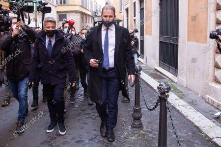 Stock Photo of Davide Casaleggio Politicians belonging to the CinqueStelle Movement enter the Palazzo di Montecitorio for the third day of consultations with Mario Draghi.