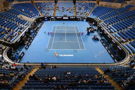 Overview of Margaret Court Arena during the Yarra Valley Classic - WTA 500 final match between Ashleigh Barty of Australia and Garbine Muguruza of Spain at Melbourne Park in Melbourne, Australia, 07 February 2021.