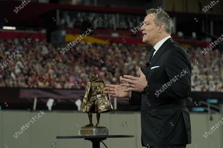 Hall of Famer Kurt Warner speaks during the NFL Honors ceremony as part of Super Bowl 55, in Tampa, Fla