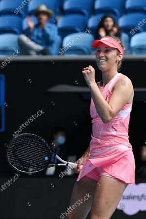 Elise Mertens of Belgium celebrates after defeating Kaia Kanepi of Estonia during the Gippsland Trophy - WTA 500 tennis tournament finals match on Margaret Court Arena at Melbourne Park in Melbourne, Australia, 07 February 2021.
